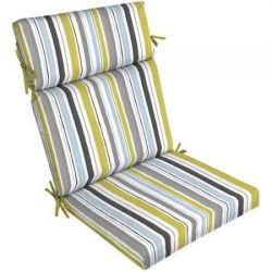 Outdoor Patio Dining Chair Cushion Filled with 100% Superior Polyester with 4 Sets of Ties (Aqua ...