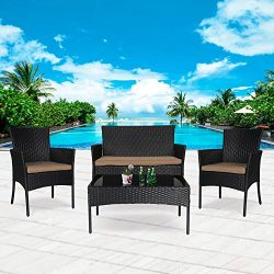 Cloud Mountain 4 PC Patio PE Rattan Wicker Furniture Set Backyard Sectional Furniture Set Outdoo ...