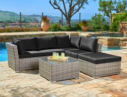 Suncrown Outdoor Furniture Sectional Sofa (4-Piece Set) All-Weather Grey Checkered Wicker with B ...