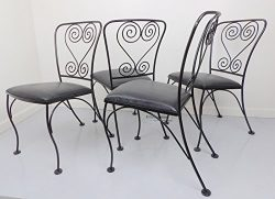 Wire Dining Chairs Wrought Iron Metal Set of 4 Patio