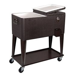 Clevr 80 Qt Outdoor Patio Deck Rolling Ice Chest Cooler Cart, Dark Brown Wicker Faux Rattan Tub  ...