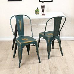 BELLEZE Trattoria Dining Chair, Metal, Stackable, Set of (4), Blue