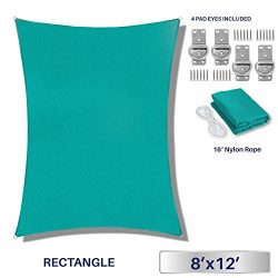 Windscreen4less 8′ x 12′ Rectangle Sun Shade Sail – Solid Turquoise Durable UV ...