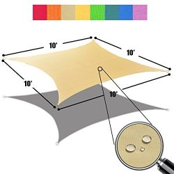 Alion Home 10′ x 10′ Waterproof Woven Sun Shade Sail in Vibrant Colors (Desert Sand)