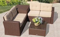 Super Patio Patio Furniture Sectional Sofa 6 Piece All-Weather Brown Wicker Rattan with Cushions ...