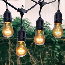 xtf2015 Outdoor Weatherproof Commercial String Lights – 48ft Heavy Duty Cord with 18 Socke ...