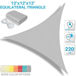 Patio Paradise 12'x12'x12′ Waterproof Sun Shade Sail-Light Grey Trangle UV Blo ...