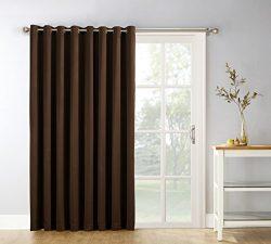 Sun Zero Easton Blackout Patio Door Curtain Panel, 100″ x 84″, Chocolate Brown