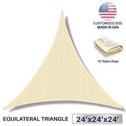 24′ x 24′ x 24′ Sun Shade Sail UV Block Fabric Canopy in Beige Sand Triangle f ...