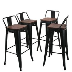 Tongli Metal Barstools Set Industrial Counter Height Stools(Pack of 4) Patio Dining Chair Black  ...