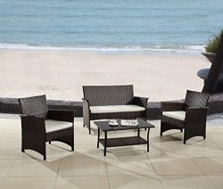 Modern Outdoor Garden, Patio 4 Piece Seat – Gray, Espresso Wicker Sofa Furniture Set (Espr ...