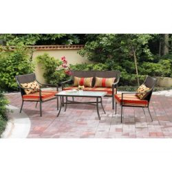 Gramercy Home Mainstays Alexandra Square 4-Piece Patio Conversation Set, Red Stripe with Butterf ...
