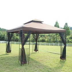 10'x 12′ Outdoor Garden Gazebo Patio Canopy Party Gazebo with Netting Screen Walls