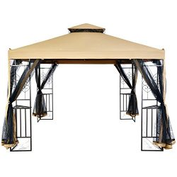 LCH 10 ft x 10 ft Outdoor Gazebo Canopy Shelter, Heavy duty, Commercial Instant, Netting, Beige
