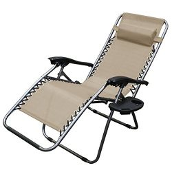 XtremepowerUS Zero Gravity Adjustable Reclining Chair Pool Patio Outdoor Lounge Chairs w/ Cup Ho ...