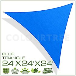 ColourTree 24′ x 24′ x 24′ Sun Shade Sail Canopy Triangle Blue – Commer ...