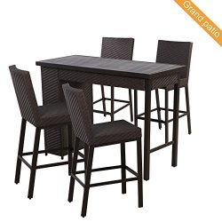 Grand patio 5 PCS Outdoor Wicker Bar Set, Weather-Resistant Patio Bar Set with Outdoor Rattan Ba ...