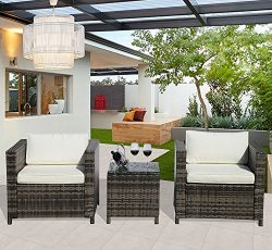 Outdoor Furniture Patio Conversation Set, 2 Armchair and Glass Coffee Table,Steel Frame, White C ...