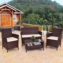 Tangkula Patio Furniture Set 4 Piece Outdoor Lawn Garden Backyard All Weather Infoor Wicker Ratt ...