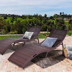 Tangkula Folding Patio Rattan Chaise Lounge Chair Pool Outdoor Furniture (2)
