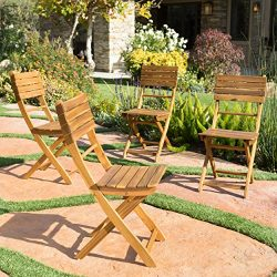 Vicaro | Acacia Wood Foldable Outdoor Dining Chairs | Set of 4 | Perfect for Patio | with Natura ...