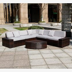 New 6 Pieces Patio PE Rattan Wicker Sofa Sectional Furniture Sets