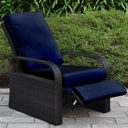 """Outdoor Wicker Recliner Chair With 5.12"""" Cushions, Automatic Adjustable Patio Chaise Loung ..."""