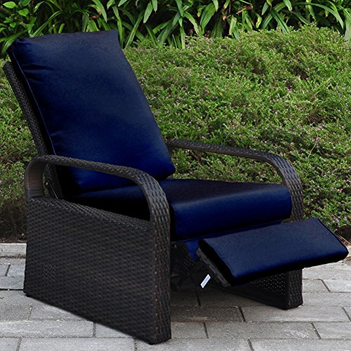Outdoor Wicker Recliner Chair With 5 12 Cushions