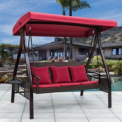 Sundale Outdoor Deluxe Wicker Porch Swing Canopy Sling Chair 3 Seats with Steel Frame Patio Back ...