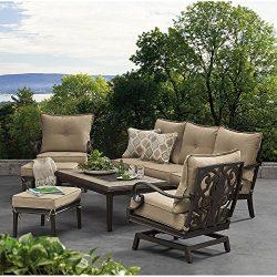 MM Deep Seating Conversation Set 6 Piece Aluminum Frames Sunbrella Fabric Tile Tabletop Outdoor  ...