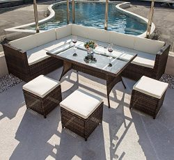 COMHO Sectional Patio Sofa Set with Cushioned Seat&Glass Table 7 Pieces 9 Seats Outdoor Furn ...
