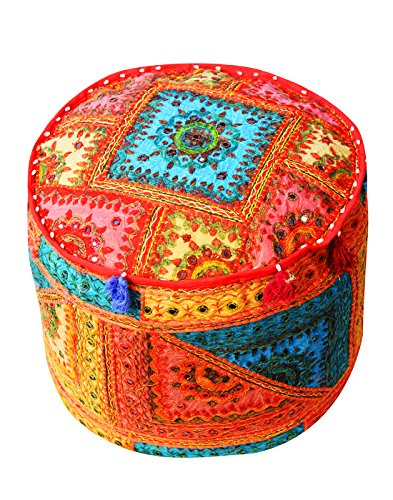 Embroidered Indian Mirror Work Ottoman Pouf Cover Home