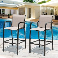 Sundale Outdoor Counter Height Bar Stool All Weather Patio Furniture with Quick-dry Textilene Fa ...