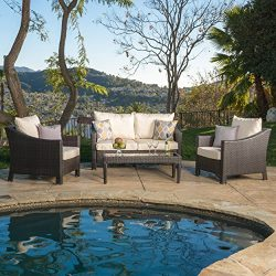 Caspian 4 piece Outdoor Wicker Furniture Patio Chat Set