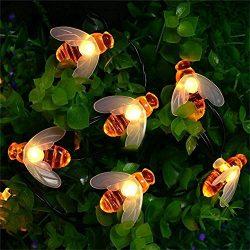 ER CHEN Solar Powered String Lights, 30 Cute Honeybee LED Lights, 15FT 8 Modes Starry Lights, Wa ...