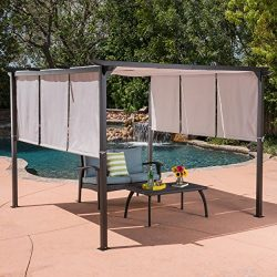 Great Deal Furniture Dione Outdoor Steel Framed 10′ by 10′ Gazebo, Grey