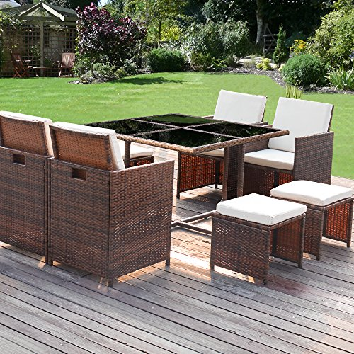 Homall 9 Pcs Patio Furniture Dining Set Clearance Wicker Rattan Table And Chairs Outdo