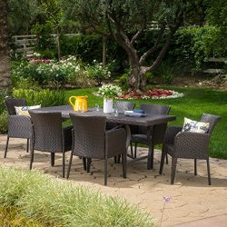 Cozumel Outdoor 7-Piece Multi-brown Wicker Dining Set