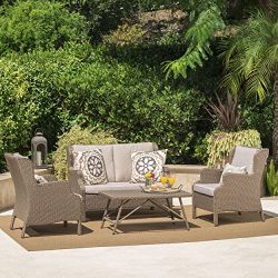 Lantana Outdoor 4 Piece Light Brown Wicker Chat Set with Textured Beige Water Resistant Cushions
