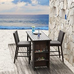 LCH 3 pcs Wicker Rattan Bar Table & Chairs Outdoor Patio Furniture Sets, Perfect for Patios  ...