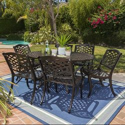 Clarisse Outdoor 7 Piece Finished Aluminum Dining Set with Expandable Aluminum Table (Hammered B ...