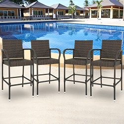 SUPER DEAL Set of 4 Patio Outdoor Wicker Bar Stool Pool Furniture Armrest, Brown Rattan Chair (4)
