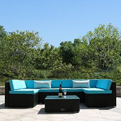Yardeen 7 Pieces Patio PE Rattan Sofa Set Backyard Furniture Kit Indoor and Outdoor With 2 Bolst ...