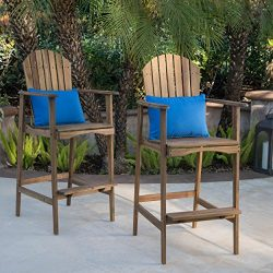 Great Deal Furniture Malibu Outdoor Natural Stained Acacia Wood Adirondack Barstools (Set of 2)
