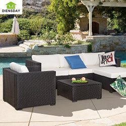 Diensday 6 Piece Cushioned Outdoor Patio PE Rattan Wicker Sofa Sectional Furniture Set Lawn Funi ...