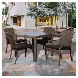Miami Beach Wicker Patio Dining Set with Grey Cushions – Grey (5 Pc)
