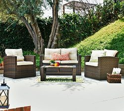 Carabelle Outdoor Wicker Patio 4 Piece Conversation Set with Tufted Back Cushions, Dark Brown an ...
