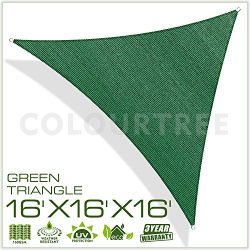 ColourTree 16′ x 16′ x16′ Sun Shade Sail Triangle Green Canopy Awning Shelter  ...