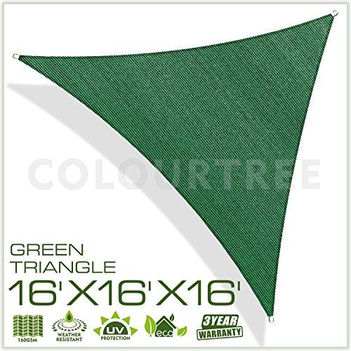 Colourtree 16 X 16 X16 Sun Shade Sail Triangle Green