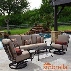 Lakeview Outdoor Designs Bocage 4 Piece Cast Aluminum Patio Conversation Set W/Sofa, Swivel Rock ...